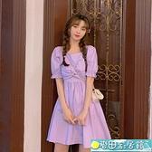 短袖洋裝 配大衣裙子女夏季2021年新款法式小眾復古小個子短袖打底連身裙 快速出貨