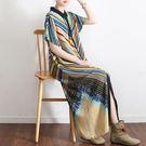 洋裝-寬鬆大碼雪紡條紋印花長版開衫/設計家