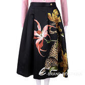 CLASS roberto cavalli 獵豹花卉印花黑色絲緞圓裙 1810212-01