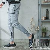 專櫃防水拉鍊拼接束口褲【TA5810】OBIYUAN 剪裁休閒褲/棉褲共3色
