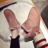 新款冬季雪地靴磨砂女鞋短靴加絨加厚保暖靴 萬客居