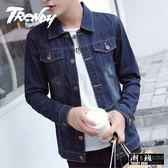 『潮段班』【HJ003064】M-3XL 韓版質感素面百搭復古刷白作舊牛仔夾克外套