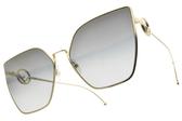 FENDI太陽眼鏡 FF0323S FT3FQ (金-漸層灰藍鏡片) 時尚幾何多邊款 # 金橘眼鏡