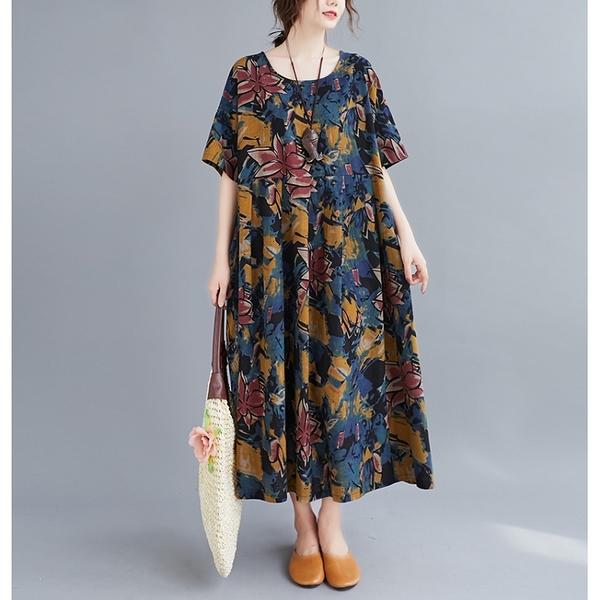 洋裝 - K6828 文藝藍紅黃花棉麻寬鬆洋裝【加大F】