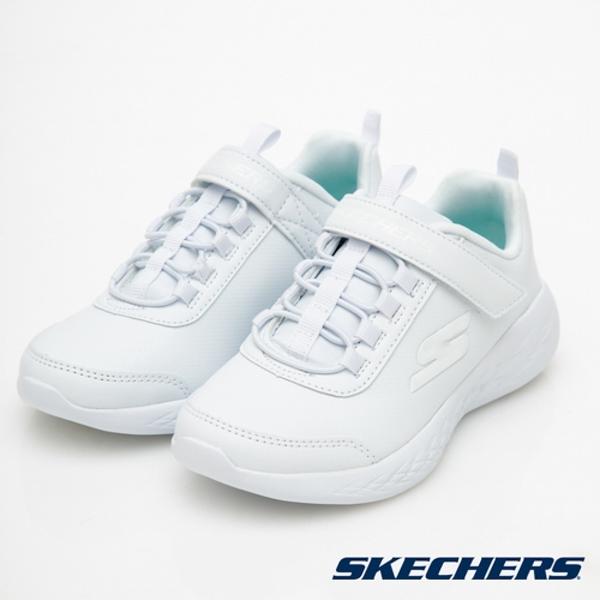 SKECHERS GO RUN 600 校園經典鞋款 全白 魔鬼氈 女童 中大童 NO.R6239