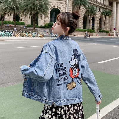 滿千免運~牛仔外套~歐洲站刺繡寬松顯瘦牛仔外套女bf卡通米奇上衣潮DC238F日韓屋