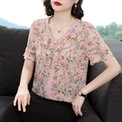 女士小衫夏雪紡衫女T恤短袖2021年新款寬鬆中老年媽媽裝t恤衫韓版 快速出貨