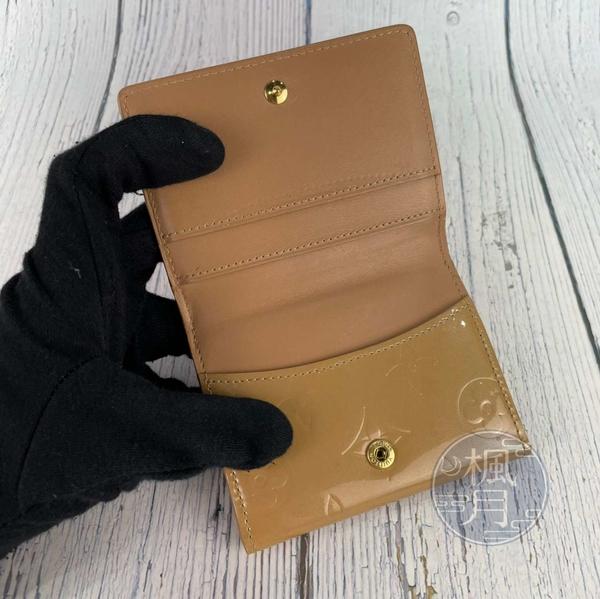 BRAND楓月 LOUIS VUITTON LV M91355 原花 奶茶色 壓紋 壓紋 小零錢包 卡夾