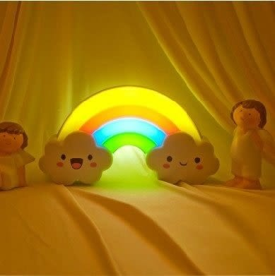 【Love Shop】彩虹聲控感應 玩具LED 小夜燈 嬰幼小孩 玩具 小夜燈 彩虹智慧型LED環保燈