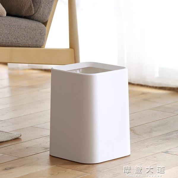 懶角落 日式垃圾桶家用客廳衛生間無蓋雙層大號辦公室紙簍筒66018