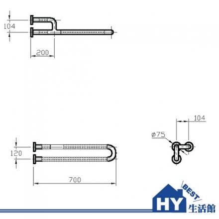 "HCG 和成 HF196AW(1 1/3"") 一般用安全扶手 -《HY生活館》水電材料專賣店"
