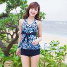 比基尼泳裝-日本品牌AngelLuna 日本直送 熱情海浪綁帶連身褲兩件式溫泉沙灘泳衣