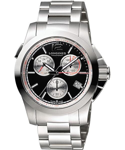 LONGINES 浪琴 Conquest Jumping 馬術障礙賽計時腕錶/手錶-黑/41mm L37014566