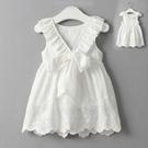 荷葉背後大V蝴蝶結洋裝 棉麻無袖背心 洋裝 橘魔法 Baby magic 現貨 連身裙 女童 白色洋裝