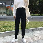 秋冬韓版寬鬆簡約黑色牛仔褲高腰顯瘦褲闊腿褲長褲學生褲子女 檸檬衣舍