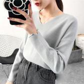 2019短款V領針織衫秋季新款寬鬆上衣女裝套頭長袖韓版毛衣打底衫『潮流世家』