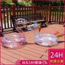 【現貨】梨卡- 梨卡 - 獨家新款全透明亮片閃亮亮充氣火烈鳥獨角獸游泳圈 M170