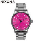 NIXON手錶 原廠總代理 A450-2096 THE SMS Sentry 38 SS桃紅色 潮流時尚鋼錶帶 男女 運動 生日 情人節禮物