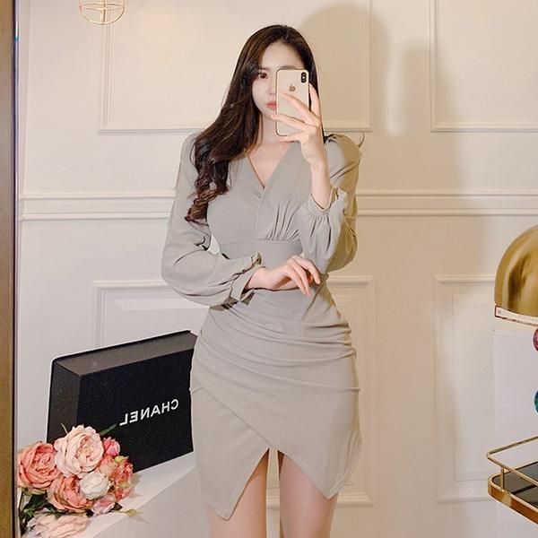 出清388 韓系夜店性感低胸包臀短裙顯瘦修身長袖洋裝