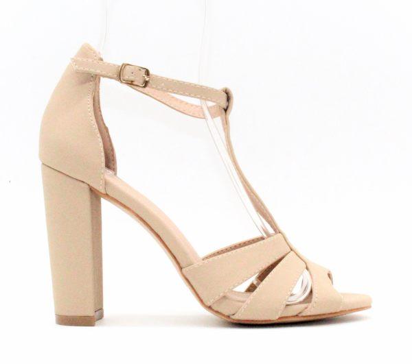 GLAZE 原色女神T字繫帶鏤空金屬釦帶繫踝高跟涼鞋-3色『杏色下標區』