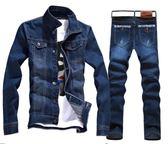 牛仔外套(藍雙口袋款) +送牛仔長褲+皮帶《P5061-6》