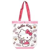 小禮堂 Hello Kitty 直式尼龍側背袋 扣式側背袋 尼龍托特包 手提袋 書袋 (粉 爆米花) 4990270-13024
