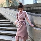 針織蕾絲連衣裙女秋冬新款中長款過膝半高領釘珠長袖打底裙子Mandyc