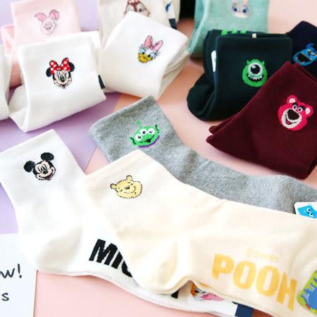 韓國 迪士尼英文字造型四分襪 襪子 短襪 造型襪 流行襪 米奇 米妮 維尼 奇奇 大眼仔 毛怪 熊抱哥
