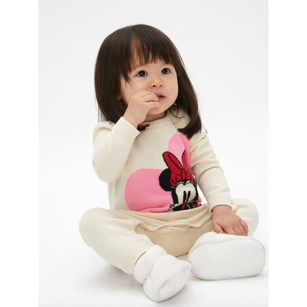 Gap女嬰Gap x Disney 迪士尼系列米妮棉質舒適長袖針織包屁衣525892-米白色