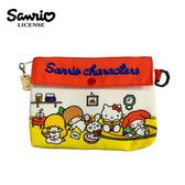 【日本正版】三麗鷗 扁型 化妝包 收納包 凱蒂貓 Hello Kitty 雙子星 美樂蒂 Sanrio - 856224
