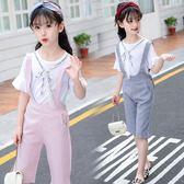 女童套裝2018新款韓版中大童時尚短袖吊帶褲兩件式 GY1415『寶貝兒童裝』
