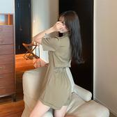 VK精品服飾 韓國風名媛優雅西裝V領連身褲套裝短袖褲裝