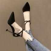 細高跟鞋 涼鞋女仙女風2020新款夏韓版百搭尖頭淺口細跟一字帶高跟女鞋【快速出貨八折搶購】