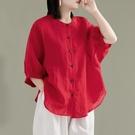 夏裝大碼寬鬆氣質亞麻襯衫女純色休閒顯瘦燈籠袖襯衣薄款棉麻上衣 格蘭小舖