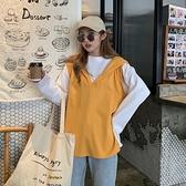 假兩件長袖連帽衛衣女秋季正韓寬鬆設計感上衣潮-Milano米蘭