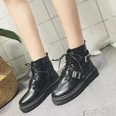 馬丁靴女英倫風學生韓版百搭機車靴復古黑色短靴女潮 盯目家