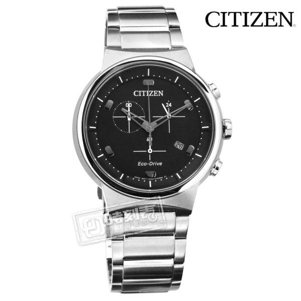 CITIZEN 星辰表 / AT2400-81E / 光動能 藍寶石水晶玻璃 計時碼錶 日期 防水100米 不鏽鋼手錶 黑色 41mm