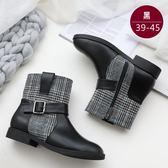 中大尺碼女鞋 方扣呢料皮革拼接個性短靴/靴子  172巷鞋舖【ZX8073-2】