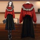 L-4XL大碼套裝兩件套~大碼女裝胖mm毛衣半身裙兩件套裝4F109愛尚布衣