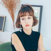 ASLLY濾藍光眼鏡-艷陽下的托斯卡尼/韓流造型淺棕多角眉型框輕量鈦金屬濾藍光眼鏡