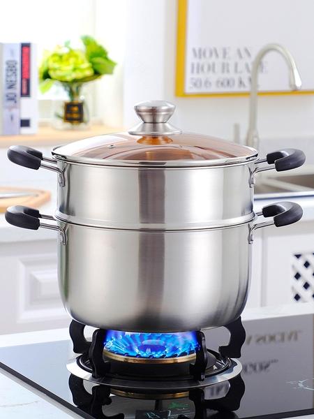 湯鍋不銹鋼304家用加厚鍋具燜鍋煮鍋粥鍋電磁爐燃氣單層2層小蒸鍋 露露日記