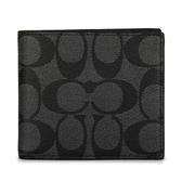 COACH 大C紋防刮皮革短夾(黑灰色)196159