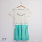 洋裝【INI】氣質綻放、短袖蕾絲上衣拼接假兩件洋裝.綠色
