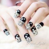 假指甲美甲工具 堆鑚黑色法式亮片假指甲貼片甲片 新娘成品手指甲片貼片 果果輕時尚