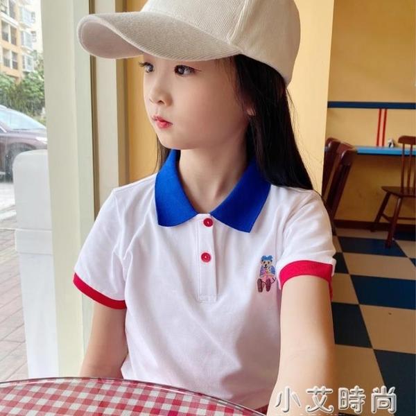 女童夏裝t恤2021新兒童POLO衫短袖t恤純棉小熊洋氣上衣半袖中大童 小艾新品