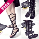 2020夏季新款歐美鏤空長筒高筒涼靴子交叉綁帶皮帶平底平跟涼鞋女