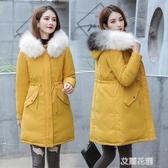 棉服女冬中長款2019新款韓版寬鬆羽絨棉衣派克服加厚外套棉衣棉服QM『艾麗花園』