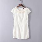 [超豐國際]谷夏裝女裝白色洋裝式娃娃領連衣裙 43230(1入)