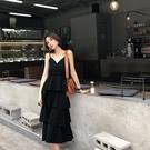 春季雪紡黑色蛋糕裙吊帶裙純色搭配牛仔外套西裝女露背洋裝長裙 設計師