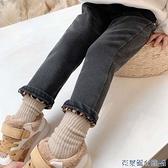 兒童牛仔褲 女童加絨牛仔褲2021秋冬裝新款兒童韓版洋氣保暖長褲寶寶加厚褲子 快速出貨